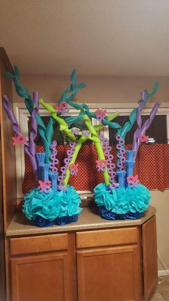 Centros de mesa en forma de coral para celebración de Sirena