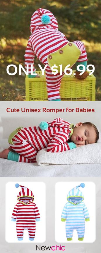 Striped Cotton Unisex Baby Long Sleeve Romper Jumpsuit Outfits Clothes For 0-24M