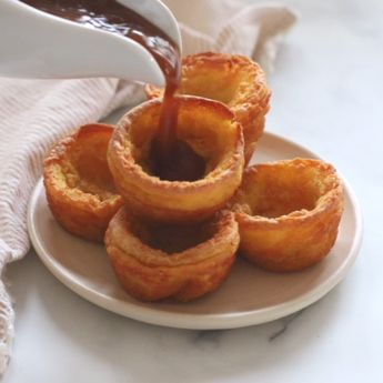 Perfect Vegan Yorkshire Puddings – Tall, crispy, golden sides, soft and slightly gooey bottoms, and a deep hollow just waiting to be filled with tasty gravy! And there's a gluten-free option! #veganyorkshirepuddings #vegan #yorkshirepuddings