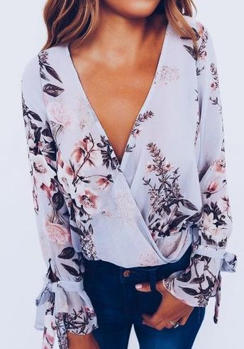 Purple Floral Print V-neck Long Sleeve Casual Blouse