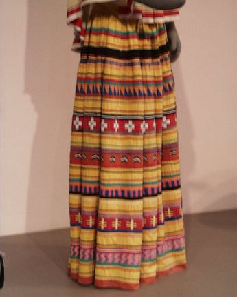 A woman's patchwork skirt from the Seminole tribe, on display at the Denver Art Museum