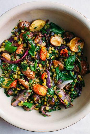 Roasted Potato and Split Pea Salad with Miso Vinaigrette
