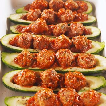 Meatball Zucchini Boats
