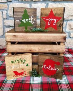 Holiday Mini Wood Signs, Christmas Tree and Noel, Star and Joy, Santa and Believe, Santa Sleigh and Merry Christmas, Christmas Decor