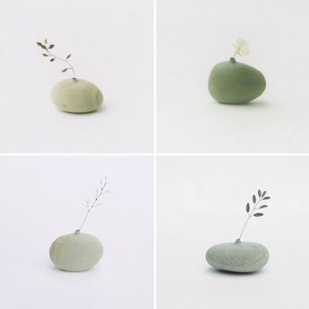 these stone vases would be great for the kids flowers when they pick the flower with little or no stem