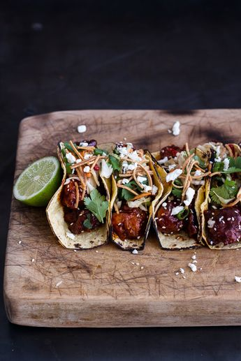 Korean Fried Chicken Tacos with Sweet Slaw, Crunchy Noodles + Queso Fresco
