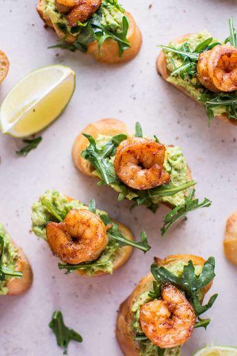 Garlic Shrimp and Avocado Crostini