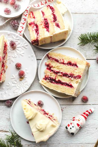 Cranberry Orange Cake with White Chocolate Frosting
