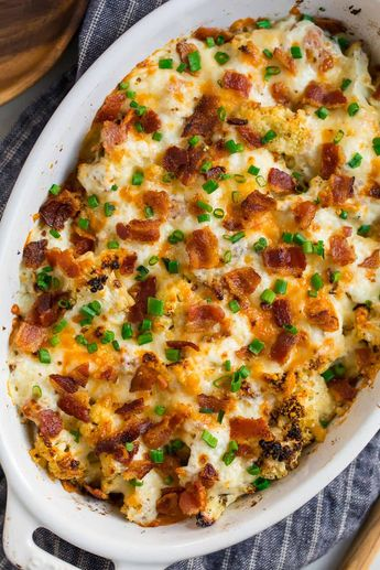 Loaded Cauliflower Casserole with Cream Cheese and Bacon. Low carb, easy to make, and a total crowd pleaser for Thanksgiving and holidays! This healthy cauliflower casserole side dish tastes completely decadent but is lightened up with every day ingredients like Greek yogurt in place of sour cream. #wellplated #cauliflowercasserole #keto #lowcarb #healthy via @wellplated