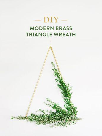 DIY Brass Triangle Wreaths