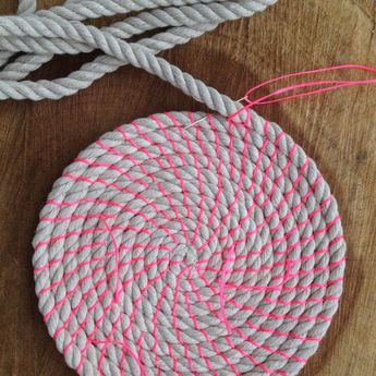 DIY Coil rope bowl tutorial and materials. Woven rope basket making kit and instructions DIY