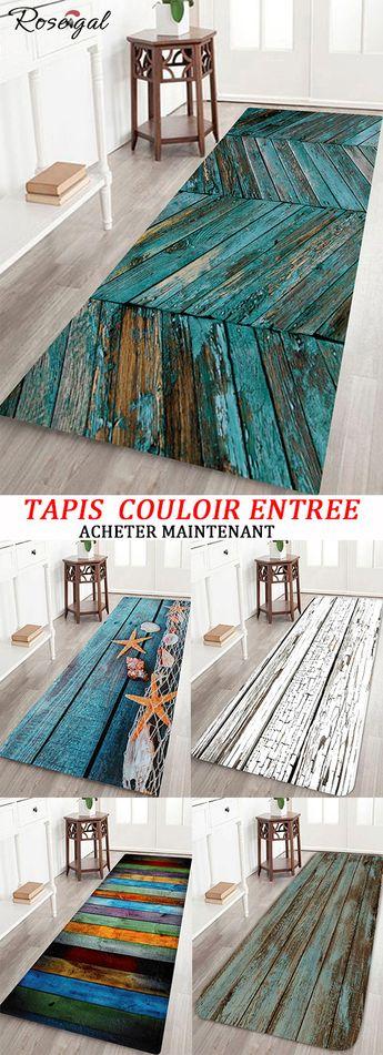 Tapis couloir pour entrée avec motif bois #Rosegal #maison #décoration #tapis #bois
