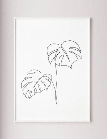 Monstera line art Tropic leaves print Abstract botanic | Etsy