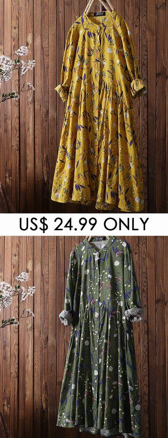 Leaves Floral Print Long Sleeve Vintage Dress For Women