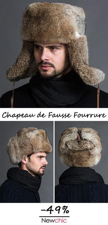 Hommes Hiver Chaud Épais Oreilles Chaud Fourrure Imitation Lapin Cheveux Lei Feng Cap En Plein Air Casual Chapeau