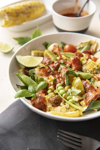 Grilled Corn and Zucchini Salad with Red Pepper Vinaigrette
