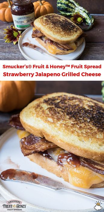 Cheddar, Fontina, And Strawberry Jalapeno Grilled Cheese Sandwich With Bacon