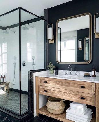 modern bathroom, dark walls, black accents