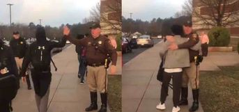 County Deputies Greet Returning Students With Handshakes, Hugs, and High Fives to Show Support