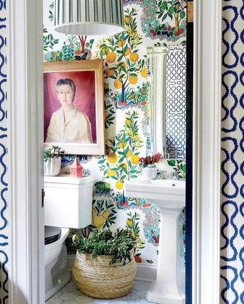 Art is always a good idea in powder rooms!