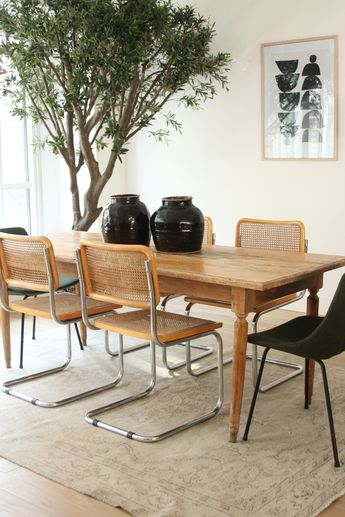 ©Selency Dining room, Breuer Chair, jarre, console, spring home, vintage home, office, ethnic home. #homeofficechairs