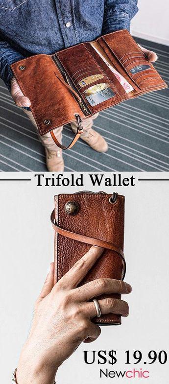 Men Trifold Long Wallet Card Holder Clutch Bag #wallet #trifold #style