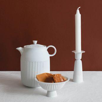 TSÉ service à thé en porcelaine blanche fait main de la marque danoise Lyngby Porcelaen