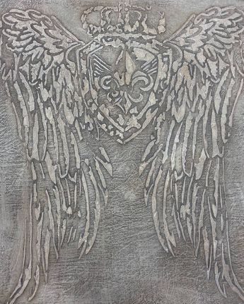 Artisan Enhancements new Crested Wing Stencil design raised with VP Antico and accented with Pearl Plaster by Artisan Enhancements retailer Studio 184!