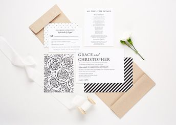 Modern Black and White Wedding Invitation Collection, Wedding Announcement