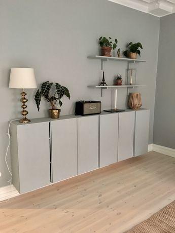 New livingroom wall  #väggfärg #wall #paint #green #interior #styling #cabinettes # shelves #gold #blue #ivar