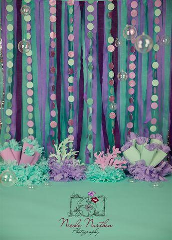 Mermaid first birthday smash the cake photography session. #mermaidtheme #purpleandteal #diy #firstbirthday #smashthecake