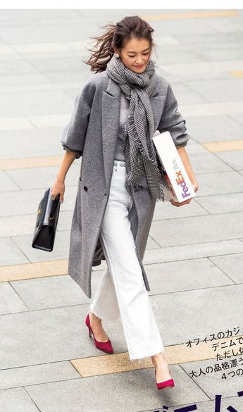 grey and red. fashion