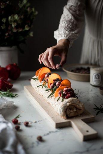 Winter Fruit Pavlova Roulade