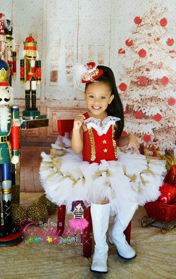 Christmas White, Red and Golden glamour tutu dress for Holidays