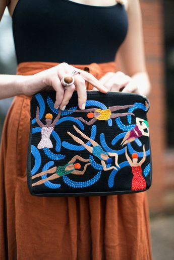 """Lizzie Fortunato ~ Pool Girls Safari Clutch, $398.00 ^^13 ~ Black leather zipper clutch with crystal embellished embroidery of the pool girls. Has an interior pocket, leather wristlet  and detachable gold-plated cross body chain. Measures 8 x 10 1/2"""""""