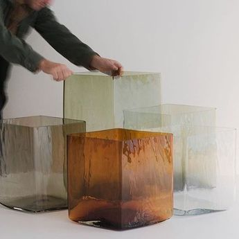 These amazing over sized diamond vases by the Bouroullec brothers are hand blown and cast into timber mounds to give the glass a beautiful rough textured finish. #Ruuto special edition cases by @ronanerwanbouroullec for @galeriekreo