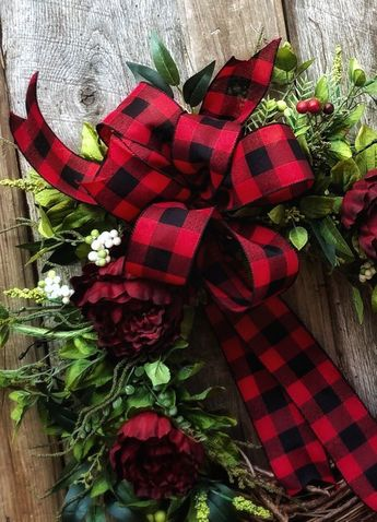 Farmhouse Wreath, Christmas Decor, Holiday Wreaths, Buffalo Plaid, Red and Black Check, Gifts, For Her, Rustic, Grapevine, Winter Door