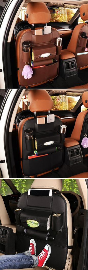 $24.99 USD Only! Shop Now >> 5 Styles Leather Car Storage Bag Multi-compartment Car Seat Storage Container Outdoors Hanging Bag