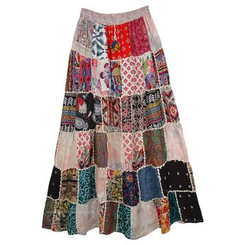 Pinkish White Multicolor Patch Work Skirt with Thread Rope Attachment