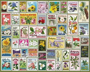State Flower Stamps  - 1000 Piece Puzzle-White Mountain Puzzles