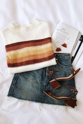 Nina Rust Multi Striped Knit Sweater