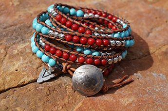 Boho Western Leather Wrap Bracelet, Turquoise, Red Coral, Native American Inspired