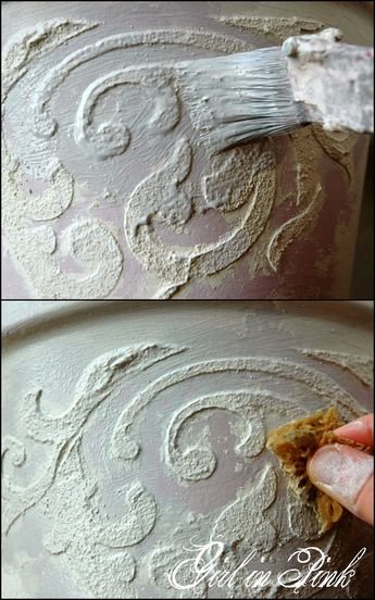 Artisan Enhancements Scumble tinted with French Linen creates a grey glaze that enhances the raised stencil relief design applied to flower pots sealed with Clear Topcoat Sealer for outdoor use.  Full tutorial in blog post.