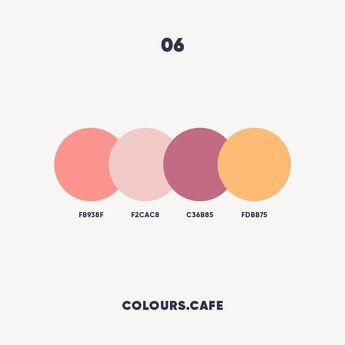 """Colours.Cafe on Instagram: """"Colours 06 . #fb938f #f2cac8 #c36b85 #fdbb75 . #colors #color #colours #colour #palette #colorscheme #colourscheme #ui #colorful…"""""""