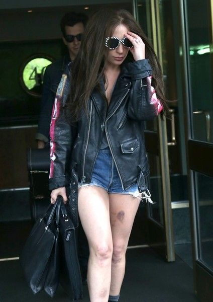 Lady Gaga leaves her hotel in New York City accompanied by Mark Ronson.