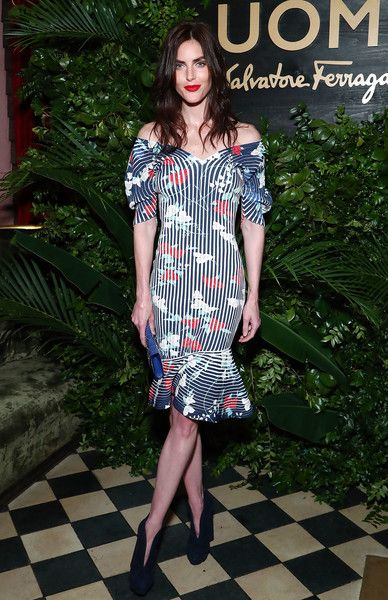 Model Hilary Rhoda attends the UOMO Salvatore Ferragamo celebration hosted by Ben Barnes at Rose Bar at Gramercy Park Hotel in NYC.