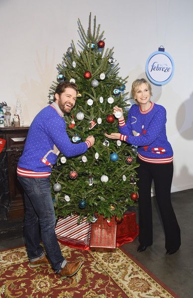 "Actors Matthew Morrison and Jane Lynch attend ""The #12Stinks Of Christmas"" Video Debut at Lightbox on November 30, 2015 in New York City."