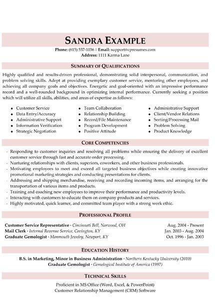 Skills summary resume examples