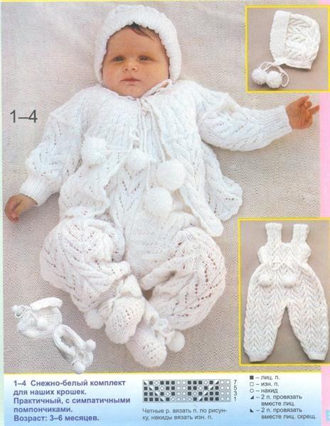 Вязание на спицах для детей до года схема