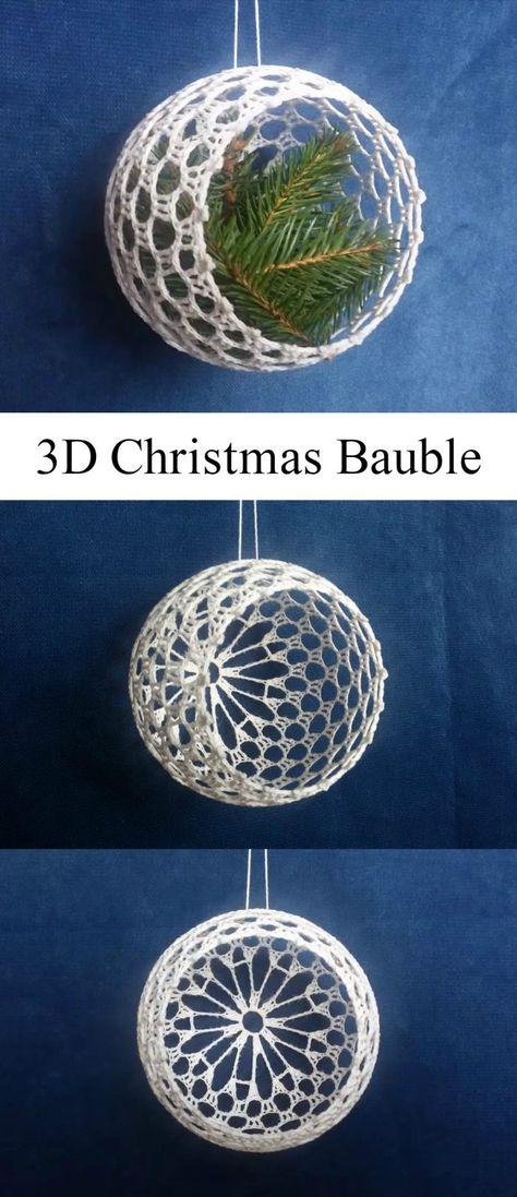 Crochet 3D Christmas Baubles